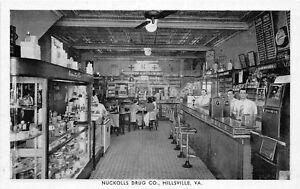 H48/ Hillsville Virginia Postcard c1910 Nuckolls Drug Store Interior