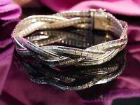 Wunderbares 835 Silber Armband Flach Geflochten Elegant Struktur Matt Glänzend