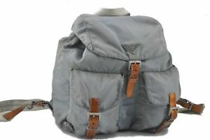 Authentic PRADA Nylon Backpack Light Blue D8597
