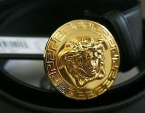 Versace Belt Leather Gold Medusa SZ 30-32-34-36-38-40
