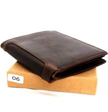Men's real Leather wallet 6 credit card slots 3 id window Trifold handmade Retro