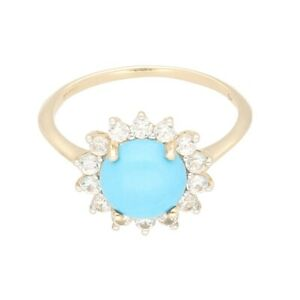 9Ct Yellow Gold Turquoise & White Topaz Halo Cluster Ring (Size T) 13mm Diameter