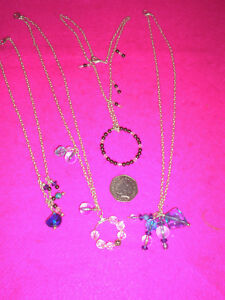 COSTUME JEWELLERY NECKLACES X 4 BLUE/GREY/CLEAR BEADS