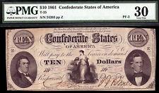 $10 1861 Confederate States of America T-25 Pf-3 Pmg 30