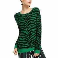 INC NEW Women's Black/green Zebra Print Pullover Scoop Neck Sweater Top S TEDO