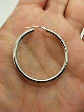 10k White Gold High Polish Tube Hoop Earrings 3mm x 40mm