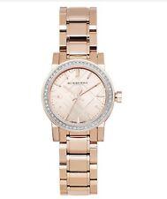 New Burberry Rose Dial Diamond-set Bezel Rose Gold-tone Ladies Watch 26mm BU9225