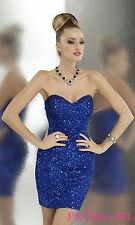 Scala Strapless Sequin Cocktail Dress, Royal Blue, Sz 6