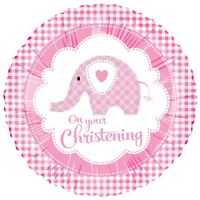 SWEET BABY ELEPHANT PINK CHRISTENING FOIL BALLOON PARTY DECORATION GINGHAM GIRL