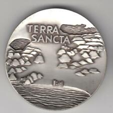 1963 Pilgrimage Terra Sancta, Holy Land State Medal 59mm Bronze, Silver Plated