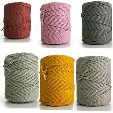 Cotton Cord 4mm rope  3 stand (ply) twisted macrame cord 1kg cotton yarn