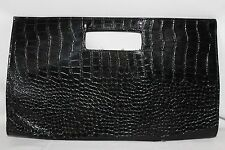 Vintage 1980's Black Moc Croc, Clutch, Shoulder Bag Grab HandBag Great Condition