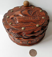 Spanish studded chunky wooden box Tooled leather galleon ship Swivel lid