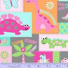 Fat Quarter Girly O Saurus Patch Dinosaurs 100% Cotton Quilting Fabric