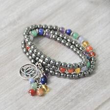 "22"" Long 7 Chakra Multi Strand Gemstone Bracelet or Necklace, Lotus Charm, Reiki"