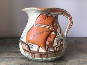 Antique 1930s Wade Heath Art Pottery Jug with Galleon. Art Deco - Orange - Ship