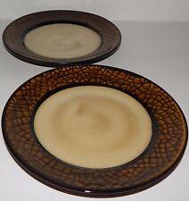 2 Gibson Everyday Option Crackle Brown & Tan Salad Plates Dishwasher Micro Safe