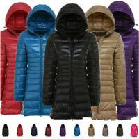 Women's 90% Duck Down Jacket X-Large Coat Ultralight Overcoat Long Hooded Puffer
