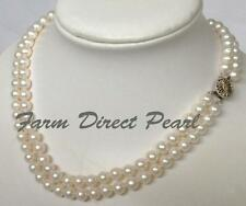 "18"" Lustrous 7mm Multi Double Strand White Pearl Necklace Cultured Freshwater"