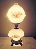 GONE WITH THE WIND 3-WAY PUFFY LION-HEAD GLOBED FLORAL MILK-GLASS HURRICANE LAMP