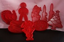 Vintage Collectable Hard Plastic 9 RED COOKIE CUTTERS