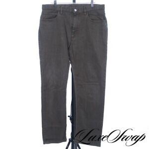 #1 MENSWEAR Loro Piana Smoked Green Brown Streaked Stretch Pants Jeans 34 Italy