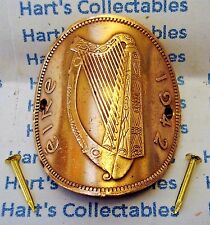 WALKING STICK BADGE / MOUNT GENUINE EIRE / IRELAND PENNY  - SHOWING IRISH HARP