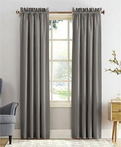 "New Sun Zero Grant Solid Room Darkening 54"" x 63"" Curtain Rod Pocket Panel Gray"