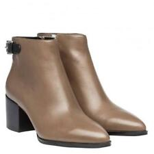 MICHAEL KORS WOMENS SAYLOR ANKLE BOOTS WITH ZIPS AND BUCKLE - SZ 7UK - BROWN