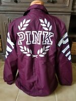 Victoria's Secret PINK Sherpa Lined Coaches Jacket Black Orchid Burg Large HTF