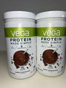 2 VEGA Protein Powder Made Simple Dark Chocolate 9.6 oz 271 g Plant Based Vegan