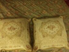 """Pair Ivory & Rose Tapestry 24"""" Decorative Pillows Beautiful"""