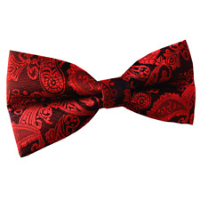 Mens Black and Red Paisley Pre-tied Bow tie Wedding Bowties for Groomsmen