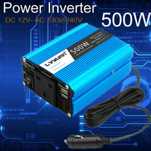Power Inverter 500w Adapter Converter Dc 12v To Ac 230v 240v Car Chargers Trip