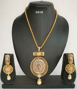 Indian Asian Fashion Jewelry Wedding American Diamond AD Necklace Earrings Sets