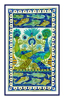 Arts & Crafts Peacock Design DeMorgan Counted Cross Stitch Chart Pattern