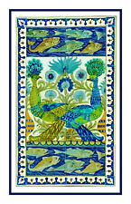 Arts & Crafts Peacock Design DeMorgan Counted Cross Stitch Chart Pattern