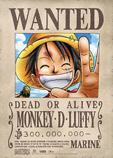 *Legit Poster* One Piece Straw Hat Pirate Luffy Wanted Authentic Wallscroll#5387