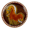 FRENCH PHILIPPE JENVRIN HORSE DECORATED PLATE 20TH C.
