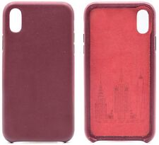 Genuine Cowhide Burgundy Leather Cell Phone Case for iPhone 8 Plus