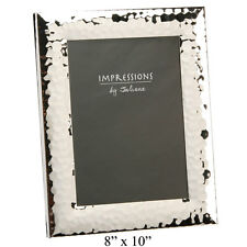 """NEW Juliana Impressions Chunky Shiny Silver Hammered Photo Picture Frame 8x10"""""""