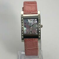 Fossil Womens F2 ES-9901 Mother Of Pearl Dial Crystal Leather Dress Wrist Watch