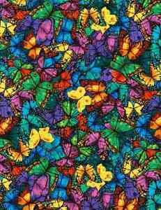 Fabric Butterfly Wings Packed Full TIMELESS TREASURES Cotton 1/4 Yard 6324