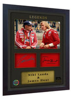 Niki Lauda James Hunt signed autograph photo print Ferrari Framed