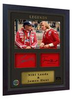 Niki Lauda James Hunt signed autograph photo print Ferrari Framed