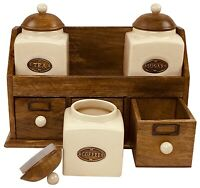 Rustic Country Cream Tea Sugar & Coffee Ceramic Jars With Wooden Drawers