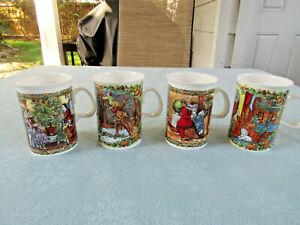 Set Of 4 Bone China Dunoon Ceramics Scullard Christmas Cups England New
