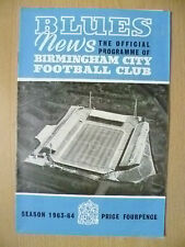 Blues News Programme 1963/64- BIRMINGHAM CITY v BOLTON WANDERERS