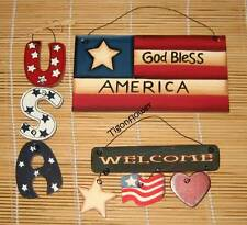 3 Country Wood Cut Out Sign Patriotic WELCOME Star Flag Heart God Bless America