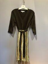 Womens Size S/M Sweater Dress, Black Tan, Stripe, Sandra Darren, Vintage, Belt